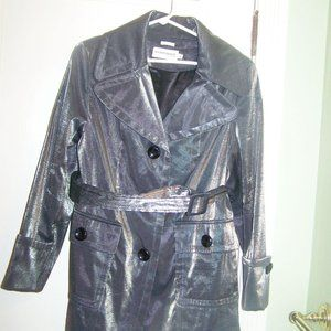 Hilary Radley Trench Coat Silver Shimmer M